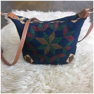 Vintage 80's 90's Southwestern Woven & Leather Bag